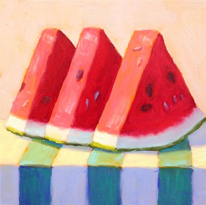 Original art for sale at UGallery.com | Watermelon by PAT DOHERTY | $225 |  | 6' h x 6' w | ..\art\acrylic-painting-Watermelon