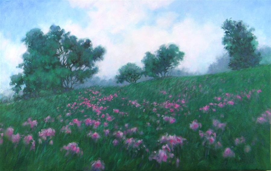 Original art for sale at UGallery.com | Purple Haze Meadow by Suzanne Massion | $675 | oil painting | 18' h x 28' w | ..\art\oil-painting-Purple-Haze-Meadow