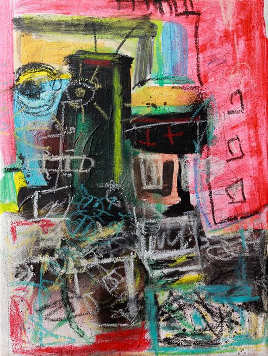 Original art for sale at UGallery.com   Azteca SXXI by Flavio Man   $1,050   mixed media artwork   15.7' h x 11.8' w   ..\art\mixed-media-artwork-Azteca-SXXI