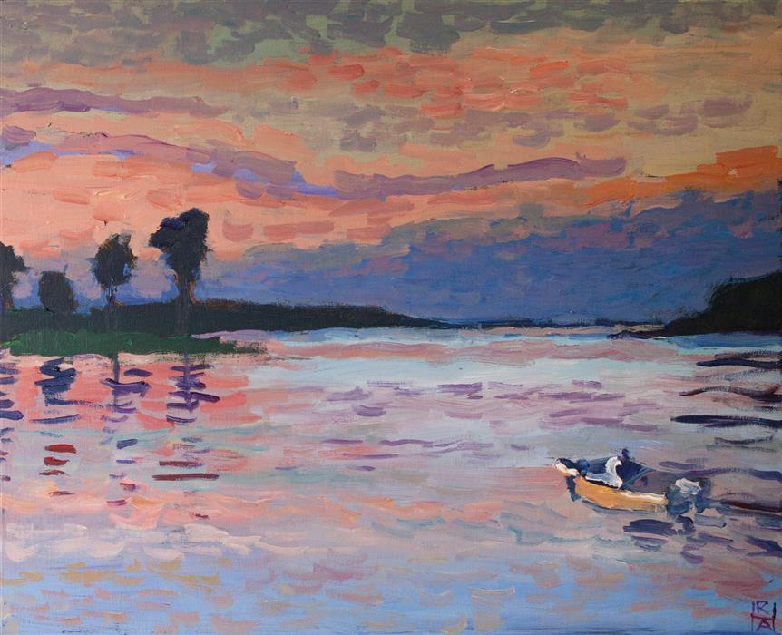 Original art for sale at UGallery.com | Indian River Bay by Robert Hofherr | $650 | acrylic painting | 16' h x 20' w | ..\art\acrylic-painting-Indian-River-Bay