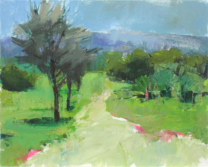 Original art for sale at UGallery.com | Path near Les Baux by Janet Dyer | $750 | acrylic painting | 16' h x 20' w | ..\art\acrylic-painting-Path-near-Les-Baux