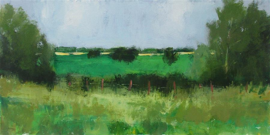 Original art for sale at UGallery.com | Fence and Fields, Ohio by Janet Dyer | $675 | acrylic painting | 12' h x 24' w | ..\art\acrylic-painting-Fence-and-Fields-Ohio