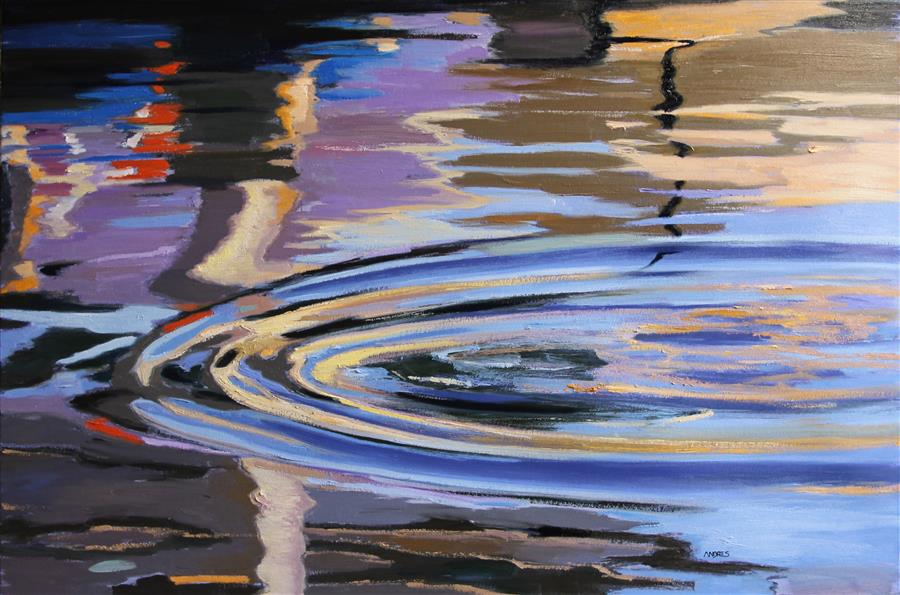 Original art for sale at UGallery.com | The Wake of the Pelican by Andres Lopez | $1,375 | oil painting | 24' h x 36' w | ..\art\oil-painting-The-Wake-of-the-Pelican