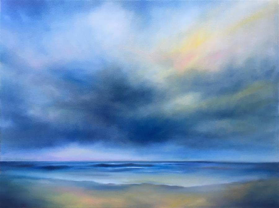 Original art for sale at UGallery.com | Skylight Shore by Nancy Hughes Miller | $3,100 | oil painting | 36' h x 48' w | ..\art\oil-painting-Skylight-Shore