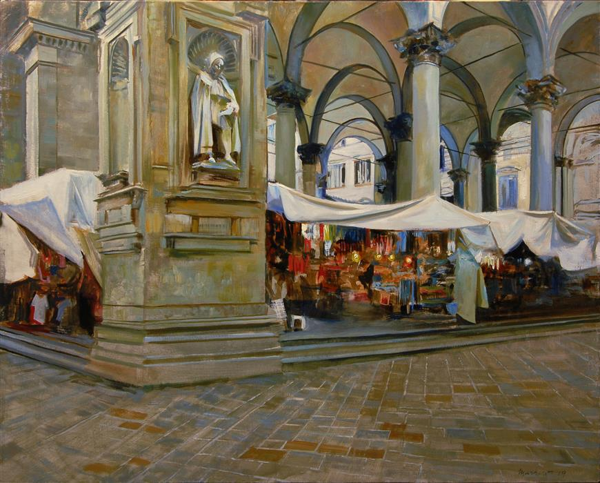 Original art for sale at UGallery.com | Piazza Del Mercato Nuovo, Florence by Onelio Marrero | $1,800 | oil painting | 24' h x 30' w | ..\art\oil-painting-Piazza-Del-Mercato-Nuovo-Florence