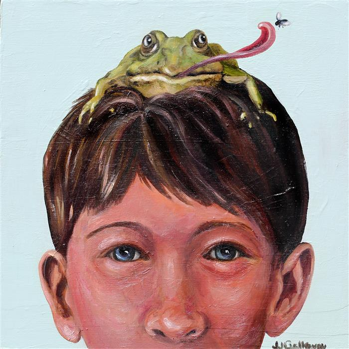 Original art for sale at UGallery.com | Frogs Have It Made by JJ Galloway | $575 | oil painting | 12' h x 12' w | ..\art\oil-painting-Frogs-Have-It-Made