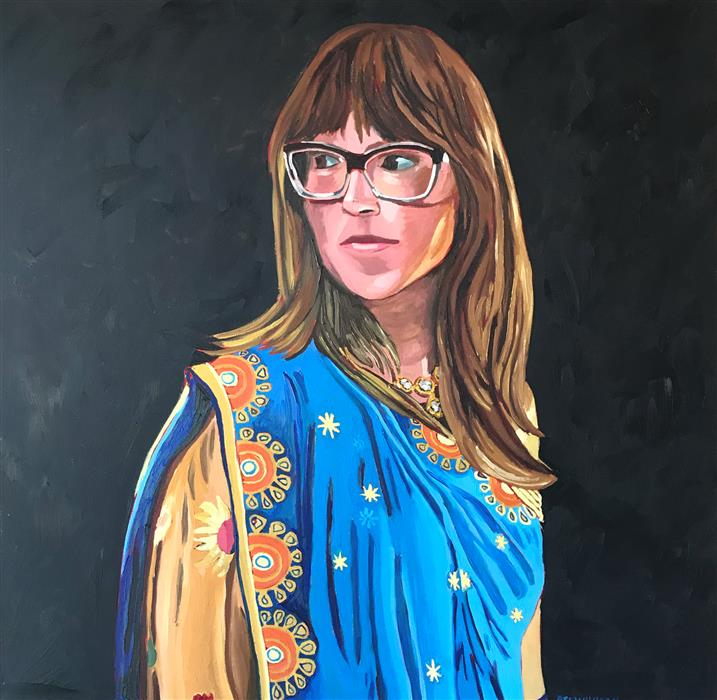 Original art for sale at UGallery.com | Saree Self Portrait by RACHEL SRINIVASAN | $1,250 |  | 36' h x 36' w | ..\art\oil-painting-Saree-Self-Portrait