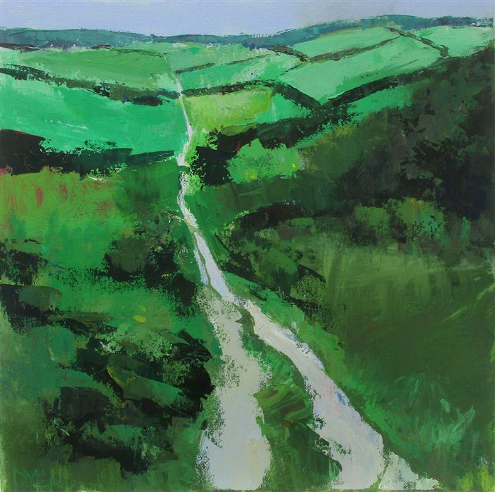 Original art for sale at UGallery.com | Path through the Downs by Janet Dyer | $750 | acrylic painting | 18' h x 18' w | ..\art\acrylic-painting-Path-through-the-Downs
