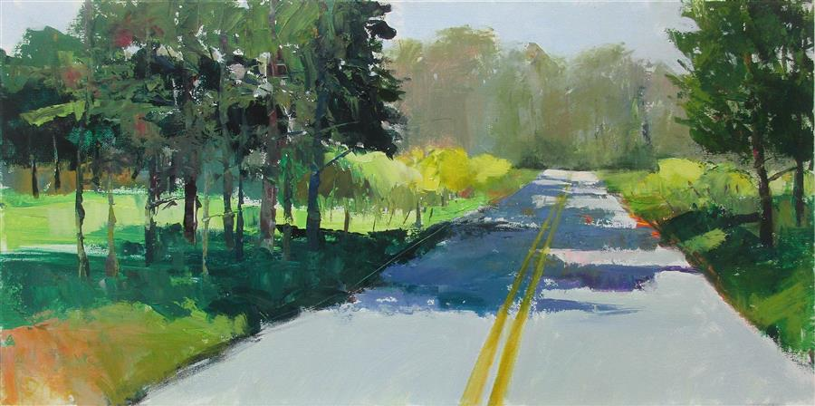 Original art for sale at UGallery.com | Forsythia along the Road by JANET DYER | $1,050 |  | 15' h x 30' w | ..\art\acrylic-painting-Forsythia-along-the-Road