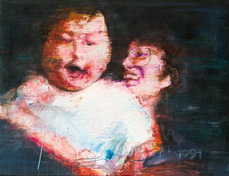 Original art for sale at UGallery.com | Mother and Child 04 by Lauren Chai | $2,700 | mixed media artwork | 34' h x 44' w | ..\art\mixed-media-artwork-Mother-and-Child-04
