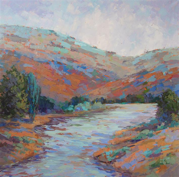 Original art for sale at UGallery.com | Snake River Byways by Tricia May | $3,975 | oil painting | 40' h x 40' w | ..\art\oil-painting-Snake-River-Byways