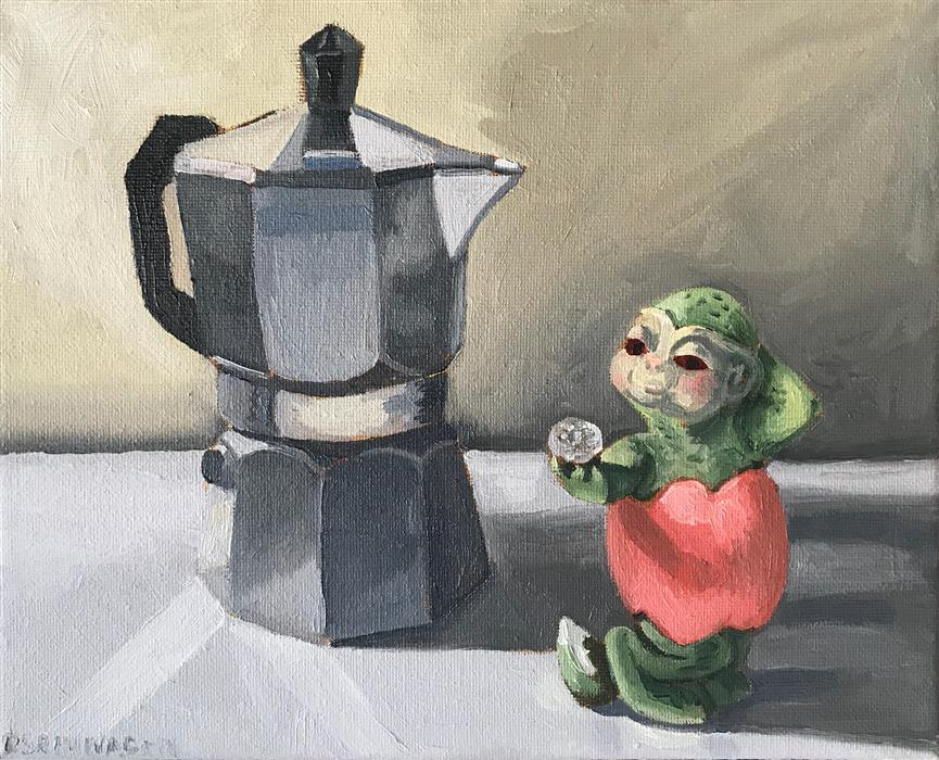 Original art for sale at UGallery.com | Dragon Coffee by Rachel Srinivasan | $275 | oil painting | 8' h x 10' w | ..\art\oil-painting-Dragon-Coffee