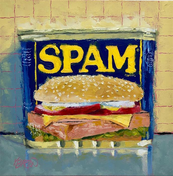 Original art for sale at UGallery.com | SPAM It! by Karen Barton | $450 | oil painting | 8' h x 8' w | ..\art\oil-painting-SPAM-It