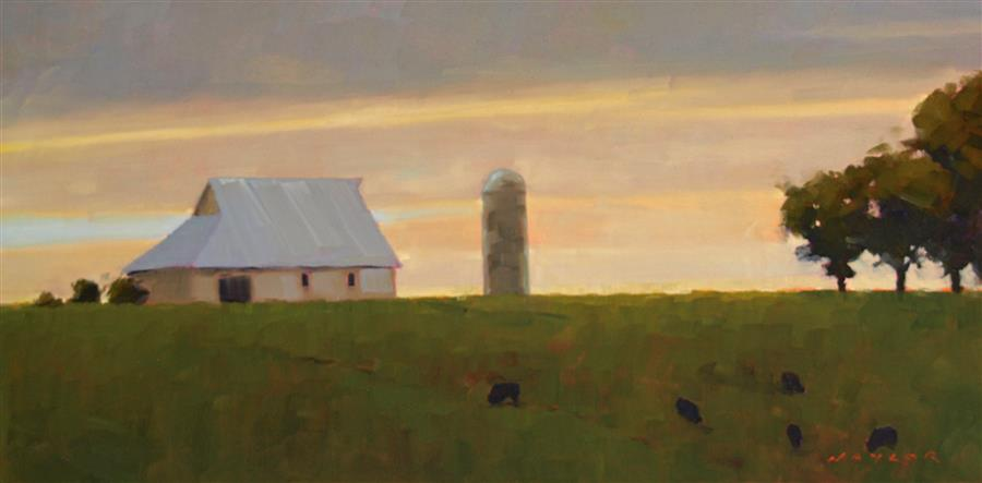 Original art for sale at UGallery.com | Midwest Farm by RODGERS NAYLOR | $1,150 |  | 12' h x 24' w | ..\art\oil-painting-Midwest-Farm