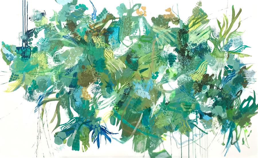 Original art for sale at UGallery.com | Verde Jardin by DL Watson | $3,750 | acrylic painting | 30' h x 48' w | ..\art\acrylic-painting-Verde-Jardin