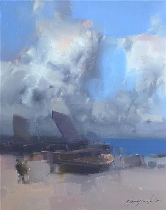 Original art for sale at UGallery.com | Cloudy Beach by Vahe Yeremyan | $700 | oil painting | 20' h x 16' w | ..\art\oil-painting-Cloudy-Beach