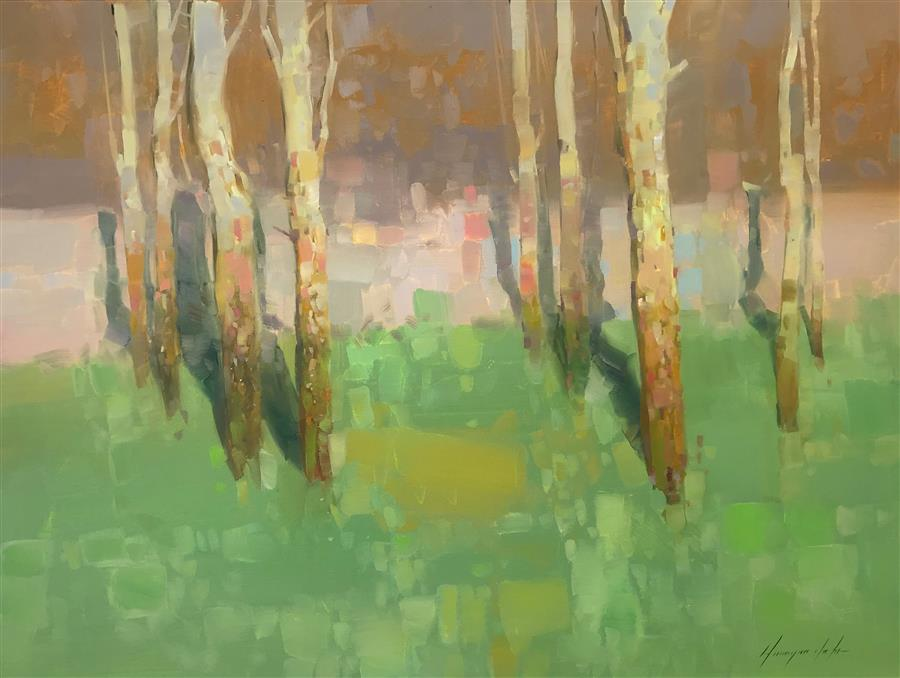 Original art for sale at UGallery.com | Autumn Trees by Vahe Yeremyan | $1,450 | oil painting | 27.5' h x 36.5' w | ..\art\oil-painting-Autumn-Trees-65439
