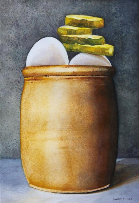 Original art for sale at UGallery.com | Pickled Eggs by Dwight Smith | $275 | watercolor painting | 7' h x 5' w | ..\art\watercolor-painting-Pickled-Eggs