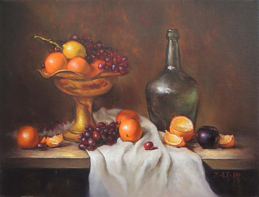 Original art for sale at UGallery.com | Copper Plate with Fruit by Zhi Li | $1,600 | oil painting | 18' h x 24' w | ..\art\oil-painting-Copper-Plate-with-Fruit