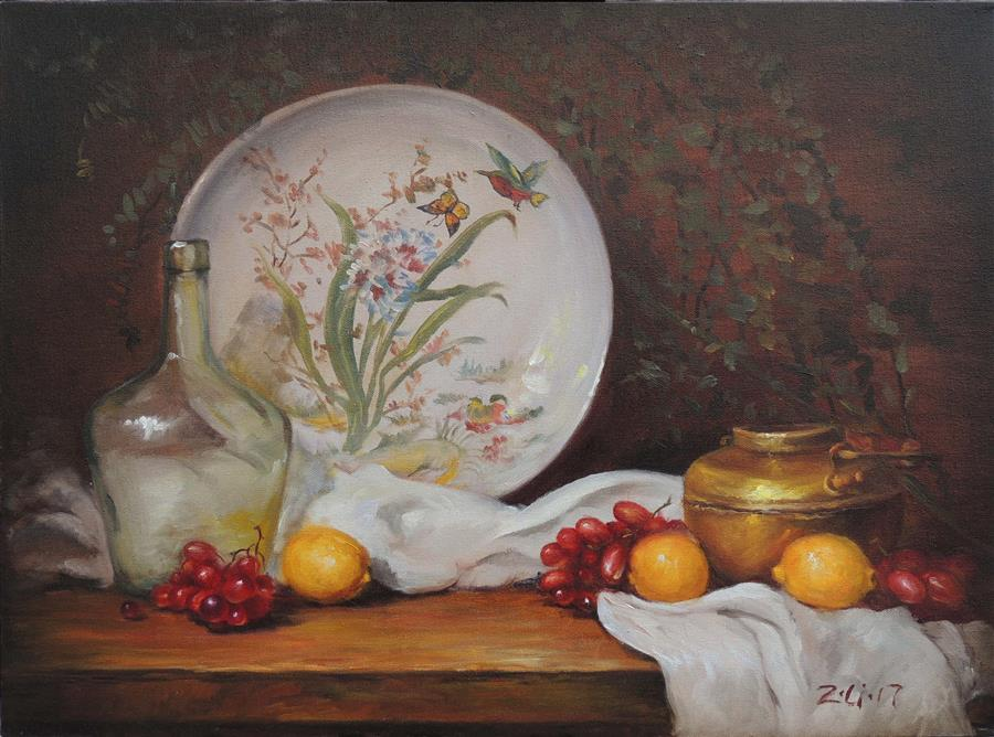 Original art for sale at UGallery.com | Chinese Painted Plate and Brass Pot by Zhi Li | $1,600 | oil painting | 18' h x 24' w | ..\art\oil-painting-Chinese-Painted-Plate-and-Brass-Pot