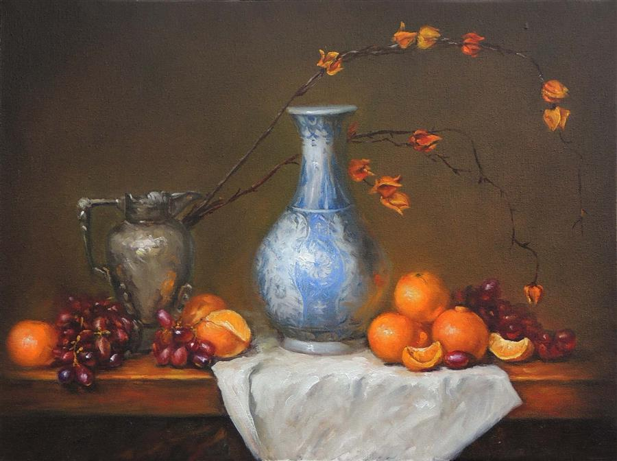 Original art for sale at UGallery.com | Blue and White Vase with Oranges by Zhi Li | $1,600 | oil painting | 18' h x 24' w | ..\art\oil-painting-Blue-and-White-Vase-with-Oranges