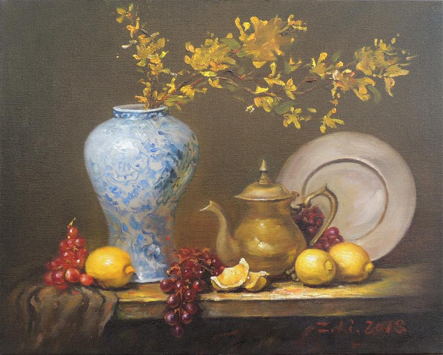 Original art for sale at UGallery.com | Copper Pitcher with Forsythia by Zhi Li | $1,300 | oil painting | 16' h x 20' w | ..\art\oil-painting-Copper-Pitcher-with-Forsythia