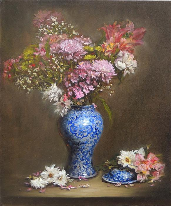 Original art for sale at UGallery.com | Pink Flowers in a Blue and White Vase by Zhi Li | $1,650 | oil painting | 24' h x 20' w | ..\art\oil-painting-Pink-Flowers-in-a-Blue-and-White-Vase