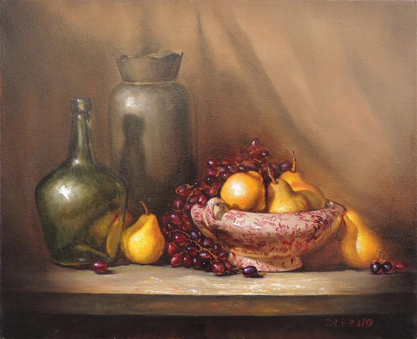 Original art for sale at UGallery.com | Purple and White Dish with Pears by Zhi Li | $1,650 | oil painting | 20' h x 24' w | ..\art\oil-painting-Purple-and-White-Dish-with-Pears