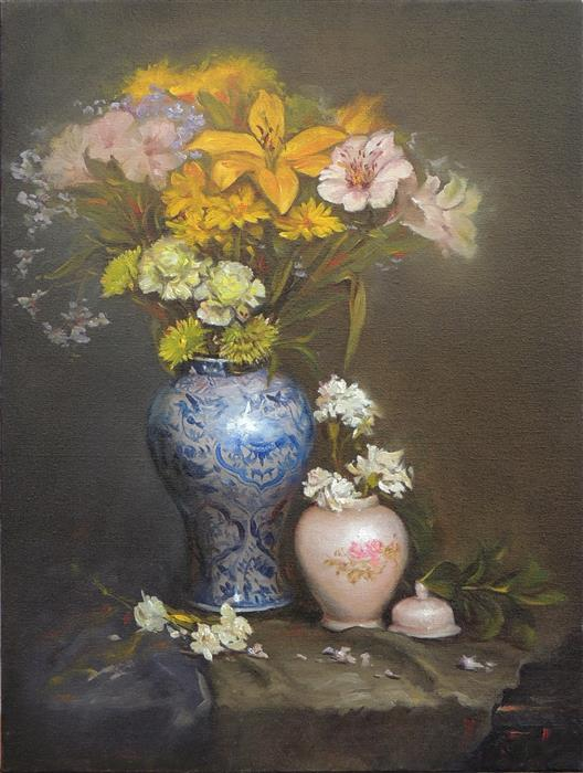 Original art for sale at UGallery.com | Flowers in a Blue Vase by Zhi Li | $1,600 | oil painting | 24' h x 18' w | ..\art\oil-painting-Flowers-in-a-Blue-Vase-65489