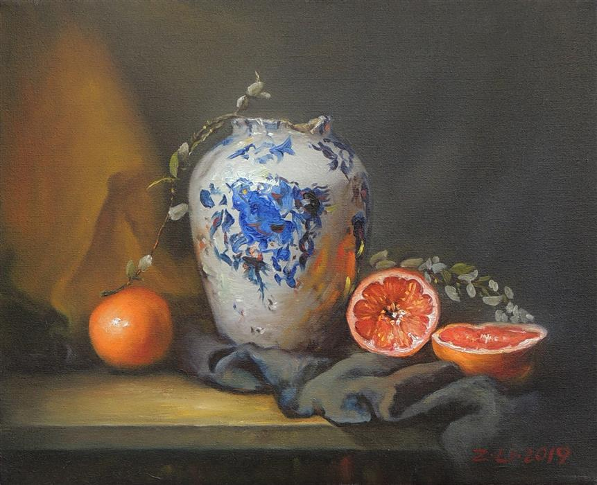 Original art for sale at UGallery.com | Blue and White Vase with Grapefruit by Zhi Li | $1,300 | oil painting | 16' h x 20' w | ..\art\oil-painting-Blue-and-White-Vase-with-Grapefruit