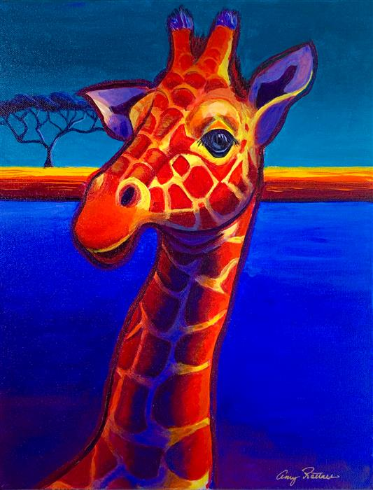 Original art for sale at UGallery.com | Giraffe in Blue by AMY RATTNER | $700 |  | 18' h x 14' w | ..\art\acrylic-painting-Giraffe-in-Blue