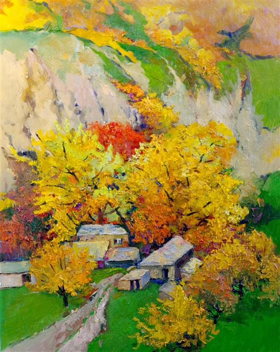 Original art for sale at UGallery.com | Fall Trees in the Canyon by Suren Nersisyan | $750 | oil painting | 30' h x 24' w | ..\art\oil-painting-Fall-Trees-in-the-Canyon