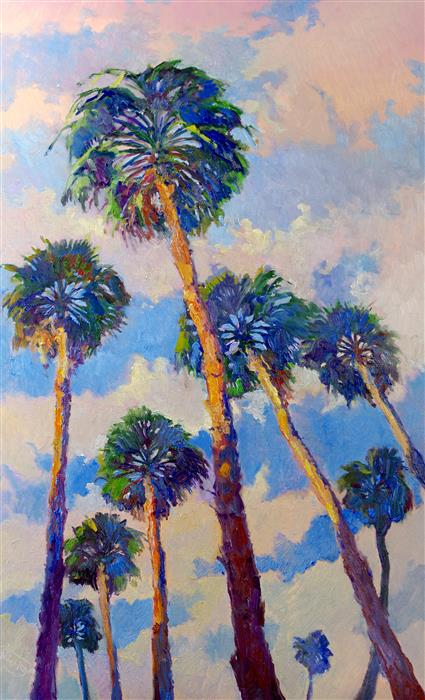 Original art for sale at UGallery.com | Palm Trees from the Beach and Soft Evening Sky by Suren Nersisyan | $2,525 | oil painting | 48' h x 30' w | ..\art\oil-painting-Palm-Trees-from-the-Beach-and-Soft-Evening-Sky