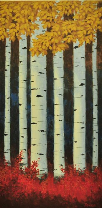 Original art for sale at UGallery.com | Sunny Aspens by Robert Pennor | $1,050 | acrylic painting | 36' h x 18' w | ..\art\acrylic-painting-Sunny-Aspens