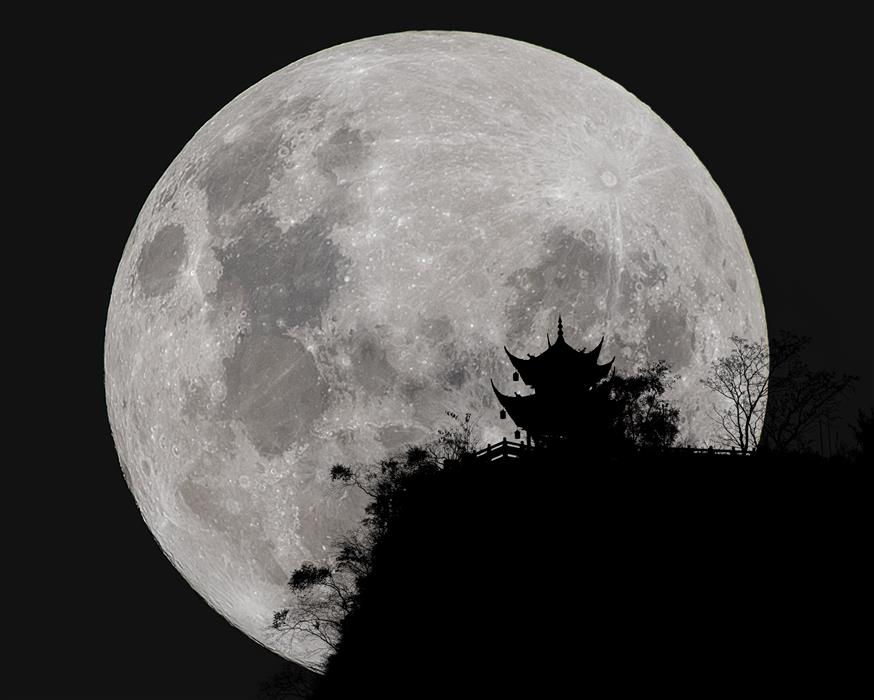 Original art for sale at UGallery.com | Full Moon behind Clifftop Gazebo in Chengdu, China by William Dickman | $25 | photography | 20' h x 16' w | ..\art\photography-Full-Moon-behind-Clifftop-Gazebo-in-Chengdu-China