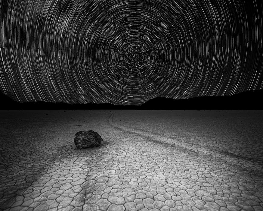 Original art for sale at UGallery.com | Star Trails over Racetrack Playa by William Dickman | $25 | photography | 20' h x 16' w | ..\art\photography-Star-Trails-over-Racetrack-Playa