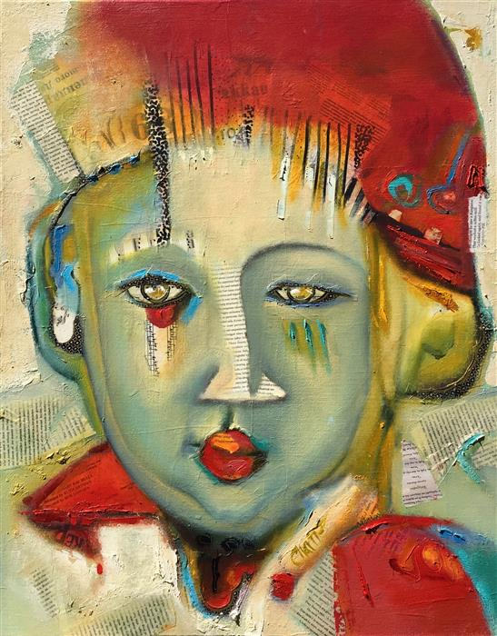 Original art for sale at UGallery.com   Kalish Child by Cynthia Chartier   $2,300   mixed media artwork   30' h x 24' w   ..\art\mixed-media-artwork-Kalish-Child