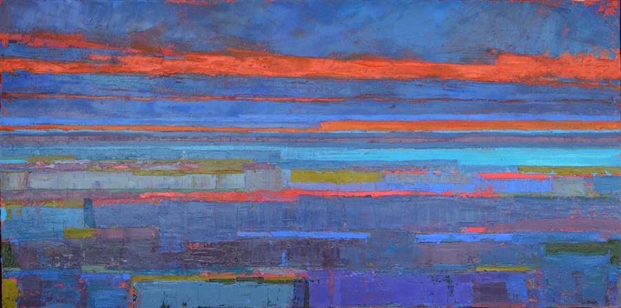 Original art for sale at UGallery.com | Ice Blue Lake and the Horizon by Srinivas Kathoju | $3,275 | oil painting | 24' h x 48' w | ..\art\oil-painting-Ice-Blue-Lake-and-the-Horizon