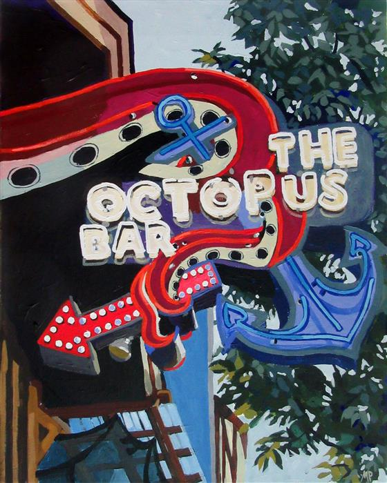 Original art for sale at UGallery.com | Octopus Bar by MELINDA PATRICK | $625 |  | 20' h x 16' w | ..\art\acrylic-painting-Octopus-Bar