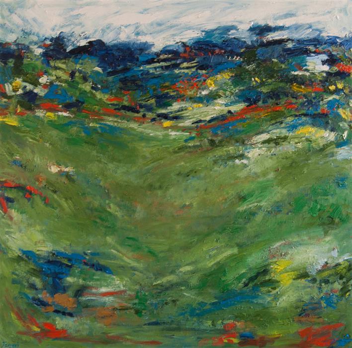 Original art for sale at UGallery.com | Summer Green by Kajal Zaveri | $3,050 | oil painting | 36' h x 36' w | ..\art\oil-painting-Summer-Green