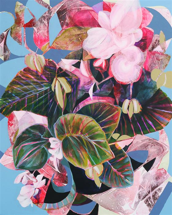 Original art for sale at UGallery.com | Carmine Begonia by Manty Dey | $1,275 | acrylic painting | 30' h x 24' w | ..\art\acrylic-painting-Carmine-Begonia