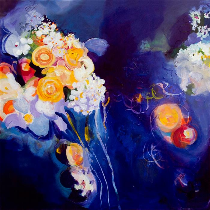 Original art for sale at UGallery.com | Throwing the Bouquet by Ruth-Anne Siegel | $2,100 | acrylic painting | 36' h x 36' w | ..\art\acrylic-painting-Throwing-the-Bouquet