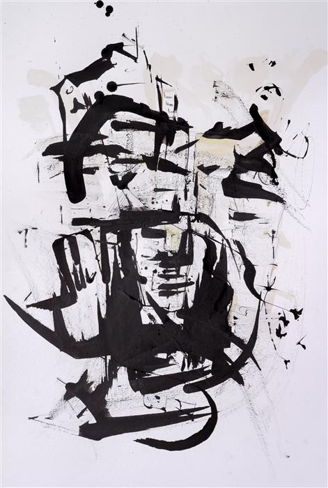 Original art for sale at UGallery.com | City Calligraphy: Faces by Flavio Man | $550 | ink artwork | 19.6' h x 13.7' w | ..\art\ink-artwork-City-Calligraphy-Faces