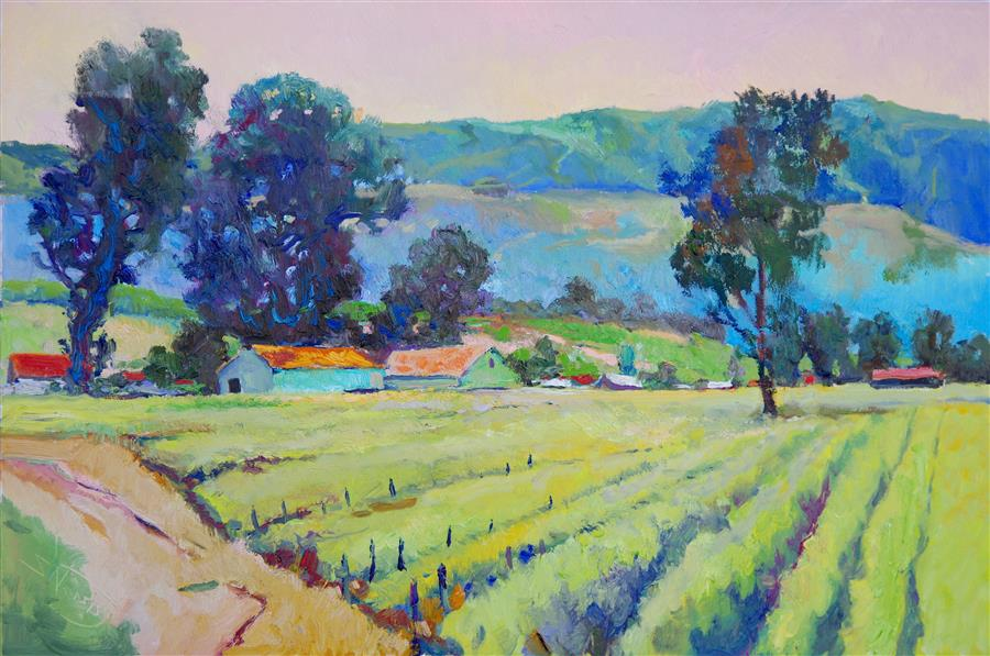 Original art for sale at UGallery.com | Morning in Vineyards by Suren Nersisyan | $1,700 | oil painting | 24' h x 36' w | ..\art\oil-painting-Morning-in-Vineyards