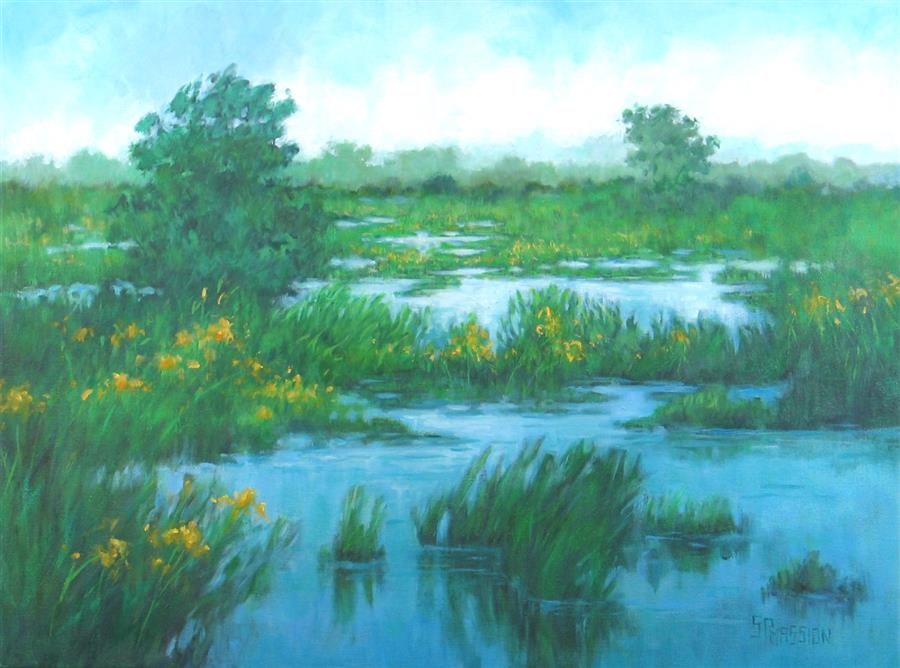Original art for sale at UGallery.com | Goldenrod Marsh by SUZANNE MASSION | $550 |  | 18' h x 24' w | ..\art\oil-painting-Goldenrod-Marsh