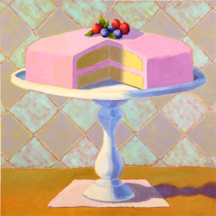 Original art for sale at UGallery.com | Raspberry Layer Cake by Pat Doherty | $1,900 | oil painting | 30' h x 30' w | ..\art\oil-painting-Raspberry-Layer-Cake
