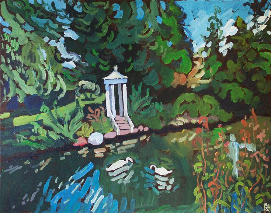 Original art for sale at UGallery.com | Morris Arboretum, Philadelphia by Robert Hofherr | $1,050 | acrylic painting | 22' h x 28' w | ..\art\acrylic-painting-Morris-Arboretum-Philadelphia