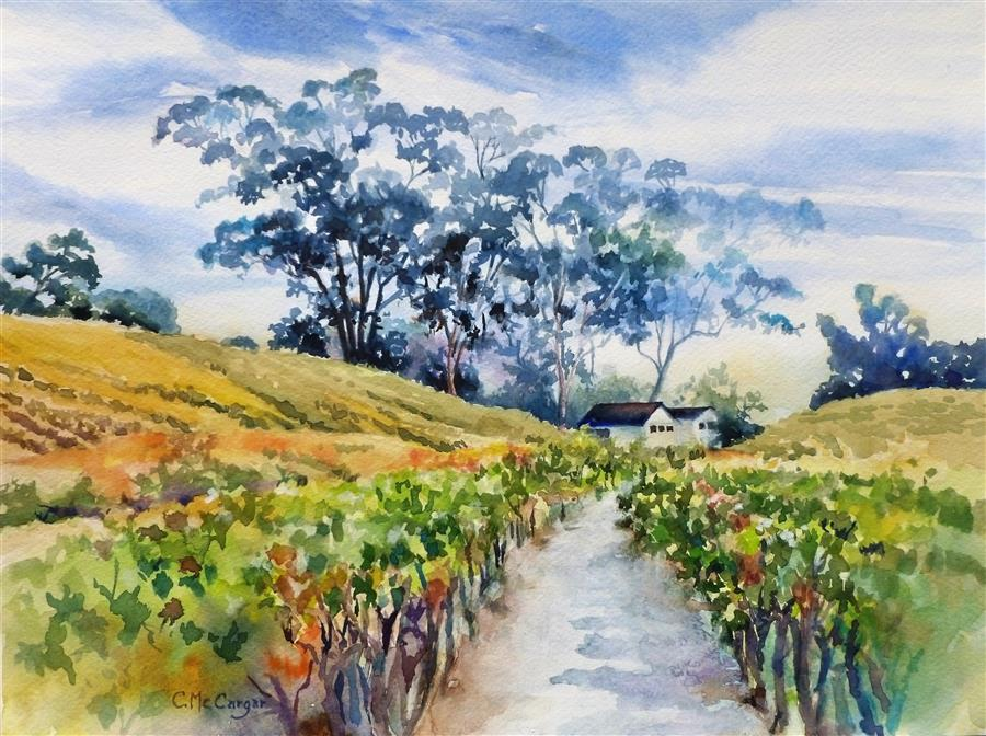 Original art for sale at UGallery.com | Sonoma Sentinels by Catherine McCargar | $650 | watercolor painting | 12' h x 16' w | ..\art\watercolor-painting-Sonoma-Sentinels