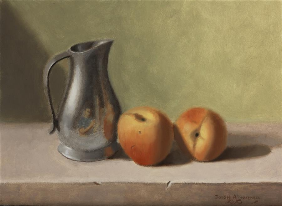 Original art for sale at UGallery.com | Pewter Pitcher and Peaches by Jose H. Alvarenga | $550 | oil painting | 9' h x 12' w | ..\art\oil-painting-Pewter-Pitcher-and-Peaches
