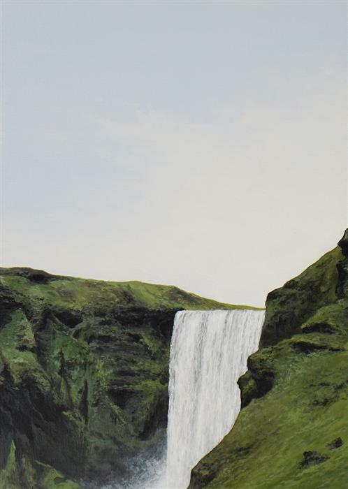 Original art for sale at UGallery.com | Skogafoss by Faisal Warsani | $400 | acrylic painting | 7' h x 5' w | ..\art\acrylic-painting-Skogafoss